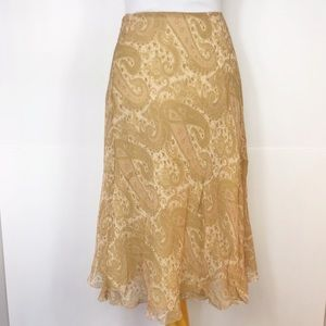 Ralph Lauren Silk Paisley Midi Skirt
